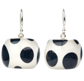 ZSISKA earrings black / deep navy  white polks dot, DOTTI