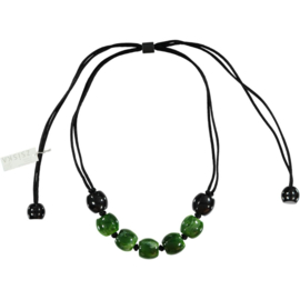 ZSISKA necklace green black marble, 25mm EVOLUTION