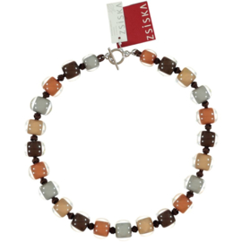 ZSISKA ketting bruin beige cognac 15 mm COLOURFUL BEADS