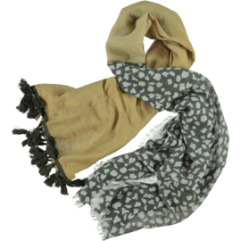 David & Alex scarf yellow ochre grey - silver. 80 x 190cm