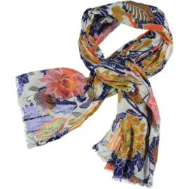A-Zone sjaal flower power, katoen 100 x 190cm