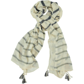 D&A scarf creme black grey stripe
