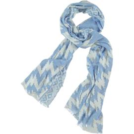 A-Zone sjaal Ausbrenner. blauw wit, 100 x 190 cm