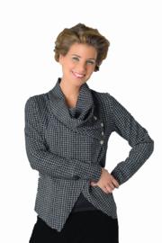 ELSEWHERE jacket - cardigan short light grey black check . STYLE 3152