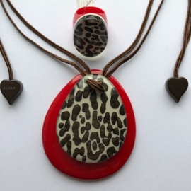ZSISKA necklace red brown pendant LEOPARD