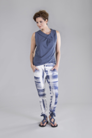 ELSEWHERE trousers denim blue/white print jersey STYLE 3266
