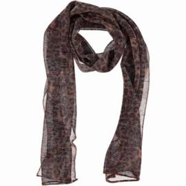 Sjaal tijgerprint bruin/grijs zilverglans, 45 x 200 cm