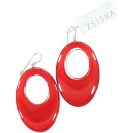 ZSISKA oorbellen rood ovaal, ELEMENTAL.