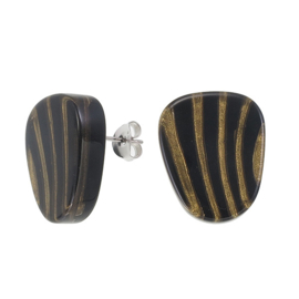 ZSISKA earrings gold black stripe - studs. MIRAGE