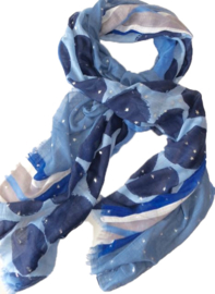 A-zone sjaal zilveren sterretjes & grote polka dot blauw, 100x180cm