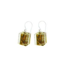 ZSISKA earrings yellow dark ochre marble. CUBES