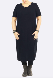 VETONO jurkje in ZWART gewassen linnen met ribjersey inzet