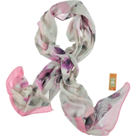 SILK ROUTE scarf in soft grey & pink tones, flower print