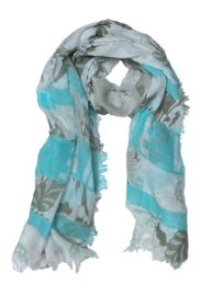 D&A sjaal turquoise taupe offwhite LOVE print, 100x190cm