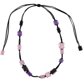 ZSISKA necklace purple lilac, adjustable. Ball's & Cubes