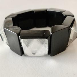 ZSISKA bracelet silver black elastic. Art DECO