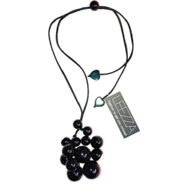 ZSISKA necklace black 14 irregular beads BOLAS