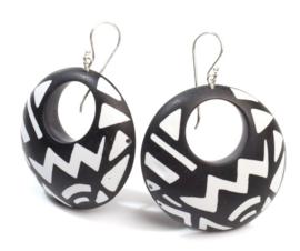 ZSISKA earrings black - silver grey  SAHARA