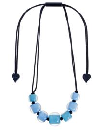 ZSISKA ketting blauw 2 kleuren 7 ongelijke kralen COLOURFUL BEADS