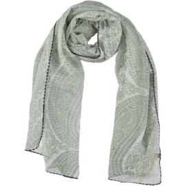 D&A sjaal grijs witte paisley, zwarte rand
