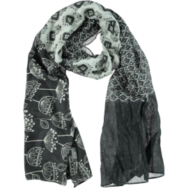 AHMADDY scarf grey white silk cotton print  115 x 230 cm