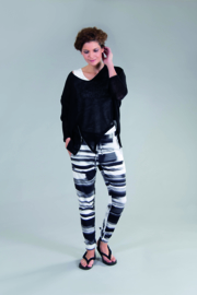 ELSEWHERE trousers black&white print STYLE 3266