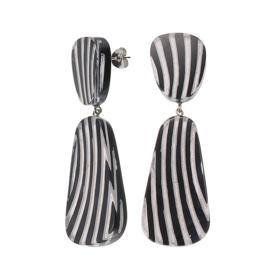 ZSISKA earrings black silver striped  - studs. MIRAGE