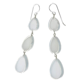 ZSISKA earrings white silver 3 pcs. VOGUE