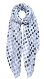 Sjaal blauw wit denim met stippen, 70 x 180