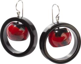 ZSISKA earrings red black, circle SATURN