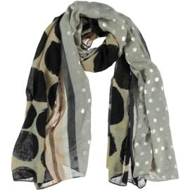 A-zone sjaal zilveren noppen & grote zwart polka dot taupe, 100x180cm