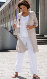 VETONO broek linnen wit steekzakken, elastiek achter