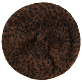 Beret dark brown animal print, soft knitted fabric - one size