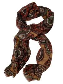 Sjaal cirkels en dots camel bruin
