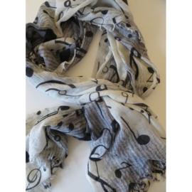 ROMANO muziek sjaal offwhite grijs zwart, merino wool 80 x 190cm