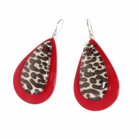 ZSISKA oorbellen rood tijgerdessin. LEOPARD.