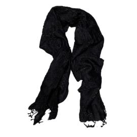 Damask sjaal in zwart beige bandahni