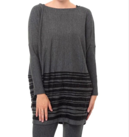 ELSEWHERE pullover black border stripe tone in tone . STYLE 3139