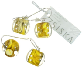ZSISKA earrings yellow mustard marble BALL'S
