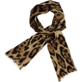 ROMANO tijgerprint camel zwart, 100%  merino wol 80 x 180cm