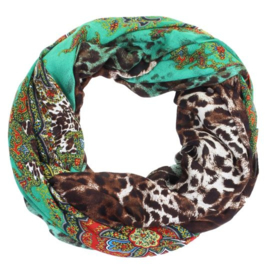 ROMANO scarf  paisley leopard print mix: red green accents, 100 x180cm