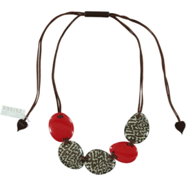 ZSISKA necklace red brown animal print  LEOPARD