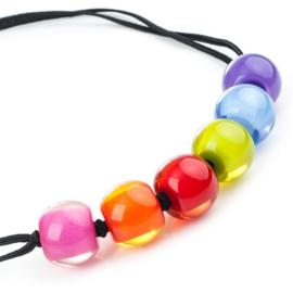 ZSISKA ketting multi colour 6 kralen SPECTRUM BALL'S.