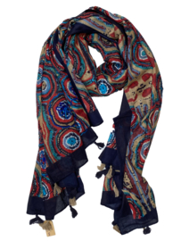 LEEZZA sjaal cirkel print navy & multi col katoen, 100 x 180 cm