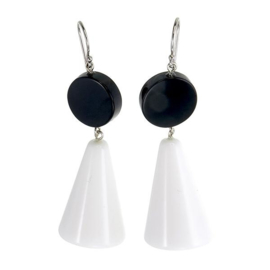 ZSISKA earrings black cone - red top MEMPHIS