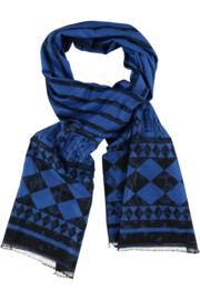 ROMANO wintersjaal flannel. Kobalt zwart  80 x190cm