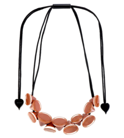 ZSISKA necklace brown -  cappuccino, 11 conical beads. NANA