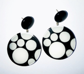 ZSISKA earrings black white  POLKA DOTS