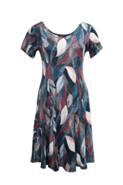 LEEZZA  summer dress jersey viscose petrol LEAFS