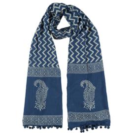 LEEZZA sjaal block print zig zag paisleyrand. 55 x 170cm